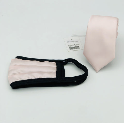 Face Mask & Tie Set S56-14A, Lite Pink