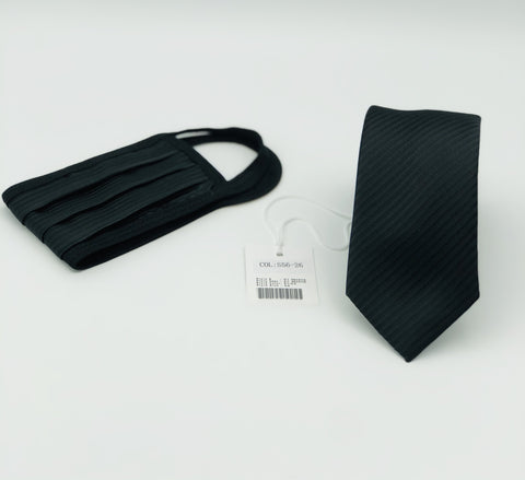Face Mask & Tie Set S56-26 Black Tone on Tone