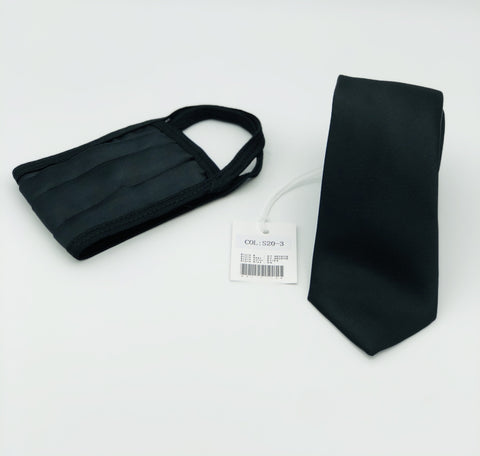 Face Mask & Tie Set S110-9, Grey Checkered