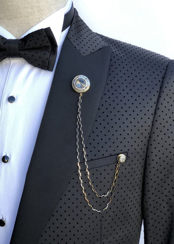 Giovanni Testi Lapel Pin with Chain GTBC8