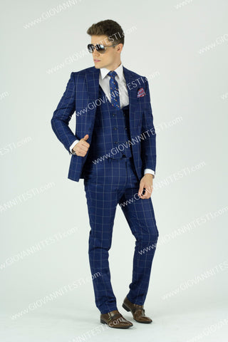 Effetti 1 Button 3 Piece Navy Windowpane Suit with Doulble Breasted Vest EFTRV-8037