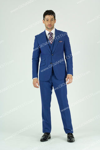 GioVanni Testi 2 Button Peak Lapel 3 Piece with double Breasted Vest GT2SPPV- BF1775 BLUE BERRY