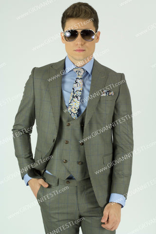 Effetti 1Button Slim Fit Beige Plaid Suit EFTRV-37167