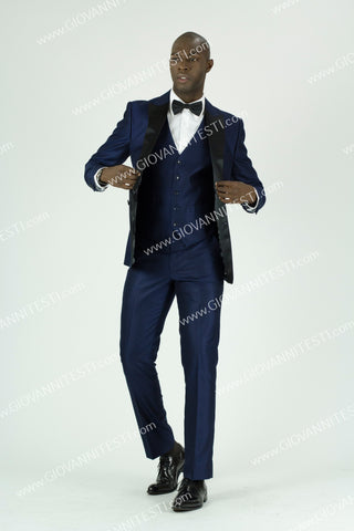 Giovanni Testi Slim Fit Irridescent Tuxedo GT2DGV-2106 Blue