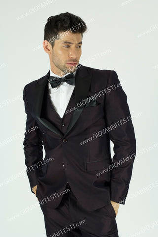 Giovanni Testi Slim Fit Irridescent Tuxedo GT2DGV-2106 BURGUNDY