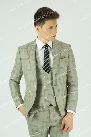Effetti 3 piece 1 Button Beige Plaid Suit with double breasted vest EFTRV-34040