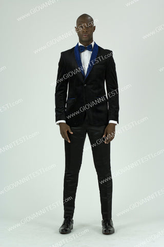 Fabio Fabrinni Slim Fit Velvet Jacket FF2SS-1474 ROYAL BLUE