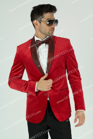 Fabio Fabrinni Slim Fit Velvet Jacket FF2SS-6026  RED