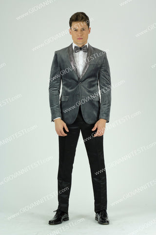 Fabio Fabrinni Slim Fit Velvet Jacket FF2SS-6026  GREY