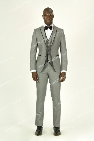 Fabio Fabrinni 2 Button 3 Piece Grey Slim Fit Suit with Taping FF2NAV-1230 L. GREY