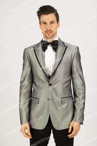 3Pc Tuxedo 2 Button Peak Lapel with Solid Color Vest GT2CAL+V-27536 Grey