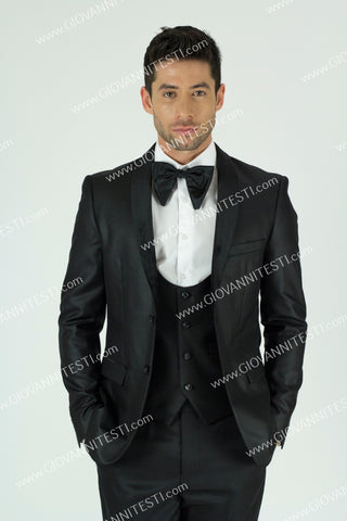 Giovanni Testi 2 button 3 Piece Velvet Shawl Lapel Suit GT2SSV-0177 BLACK