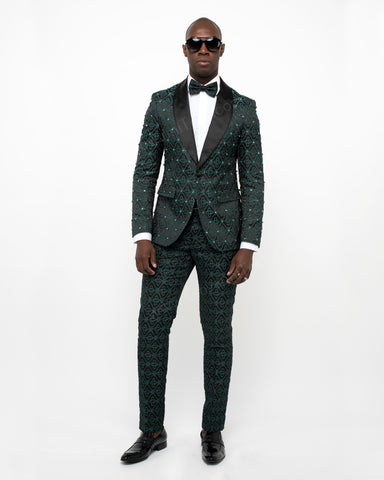 Giovanni Testi 1 Button Slim Fit Suit with Shawl Lapel GT1S-1191 Green