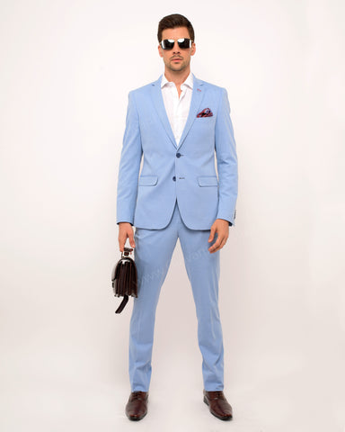 Giovanni Testi 2Piece Slim Fit Stretch Suit GT-TRAVELLER Light Blue