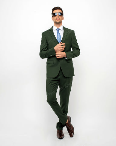 2 Button Notch Lapel Olive Slim Fit Suit FF2SV-4030