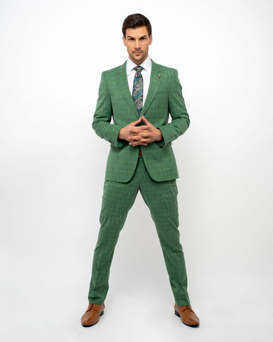 Giovanni Testi 2 Button windowpane Slim Fit Suit with Peak Lapel GT2P-5979 Fern Green
