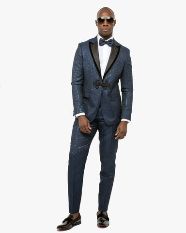 Giovanni Testi 2 Button Slim Fit Suit with Peak Lapel GTDGP-SHINE Navy