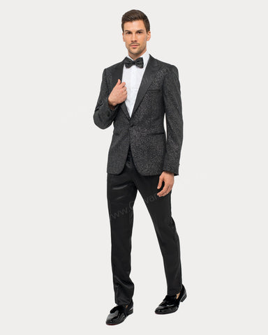 Giovanni Testi 1 Button Slim Fit Suit with Peak Lapel GT1PA-GLITTER Silver
