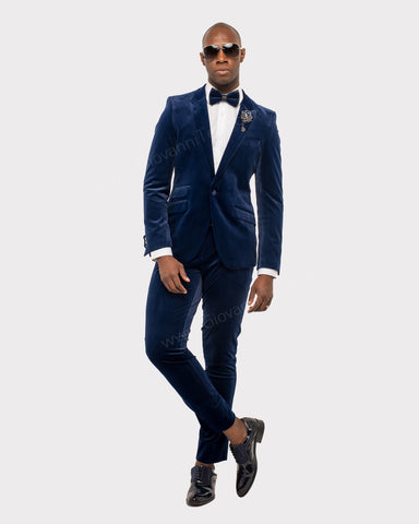 Giovanni Testi 1 Button Stretch Velvet Slim Fit Suit with Peak Lapel GT1P-1925 Navy