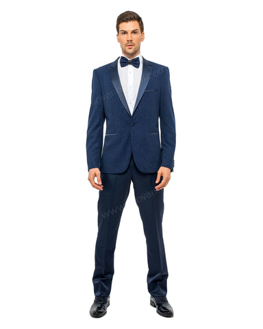 Giovanni Testi 1 Button Slim Fit Suit with Peak Lapel GT1PA-GLITTER Navy