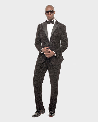 Giovanni Testi Slim Fit Suit Floral Velvet with Peak Lapel GTDGP-FLOK
