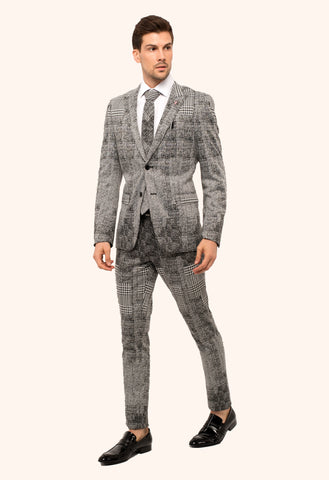 Giovanni Testi 2 Button Stretch Plaid Slim Fit Suit with Peak Lapel GT2P-028 Black-White