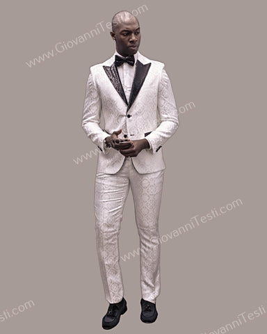Fabio Fabrinni 2 Button Slim Fit Suit with Sequins Peak Lapel FF2DG-10 WHITE