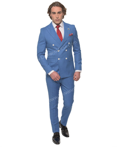 Giovanni Testi Slim Fit Double Breased Suit GT6DB-6429 French BLUE