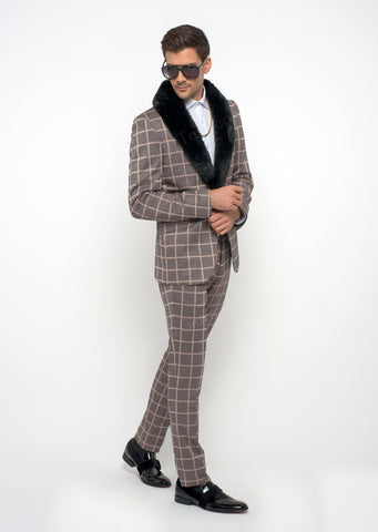 Giovanni Testi 2 Button Stretch Plaid Slim Fit  Suit with Peak Lapel GT2P-32005 Blush