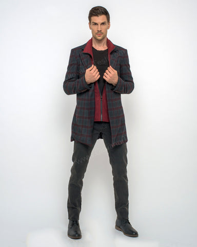 Giovanni Testi Plaid Duster Over Coat GTGOTI-5161 Black/Burgundy