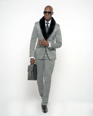 Giovanni Testi 2 Button Stretch Plaid Slim Fit Suit with Peak Lapel GT2P-32004 Black/White
