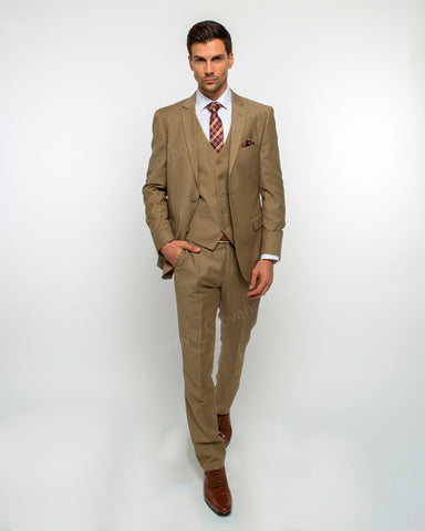 2 Button Notch Lapel Tan Slim Fit Suit FF2SV-4030