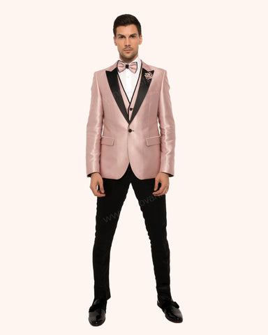 Giovanni Testi 3 Piece Slim Fit  Suit with Peak Lapel GT1P+V-2102 Dusty Rose