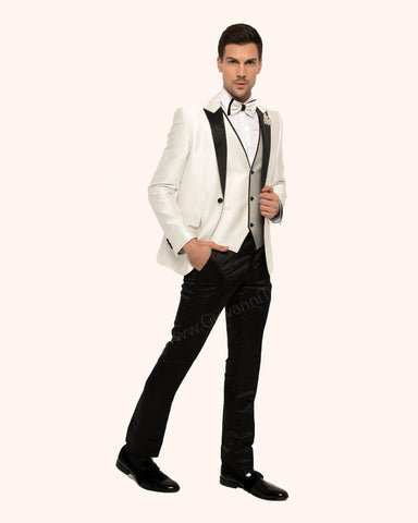 Giovanni Testi 3 Piece Slim Fit  Suit with Peak Lapel GT1P+V-2102 Ivory