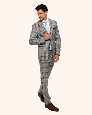 Giovanni Testi 2 Button Peak Lapel Slim Fit Blue and Brown Plaid Suit GT2P-2201
