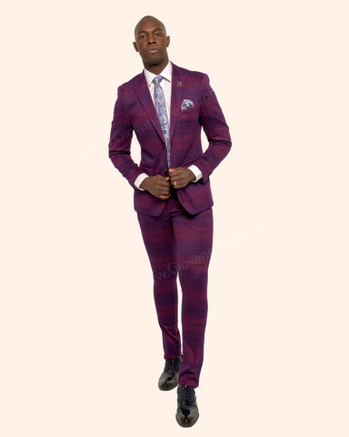 Giovanni Testi 2 Button Stretch Plaid Slim Fit Suit with Peak Lapel GT2P-8095 Violet