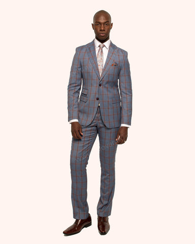 Giovanni Testi 2 Button Slim Fit  Suit with Peak Lapel GT2P-3380 Blue-Rust