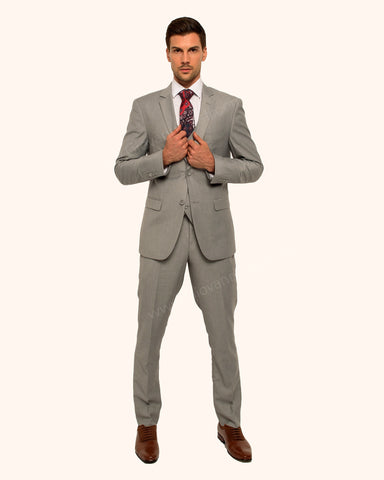2 Button Notch Lapel Silver Slim Fit Suit FF2SV-4030