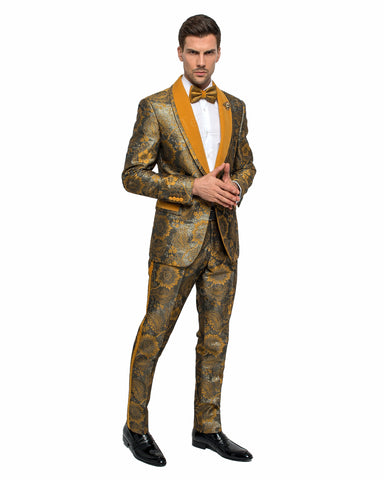 2 Piece 1 Button Slim Fit Tuxedo with Velvet Shawl Lapel GT1ST-SHANA Mustard