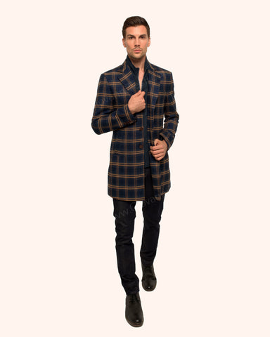 Giovanni Testi Plaid Duster Over Coat GTGOTI-5161 Navy/Tan
