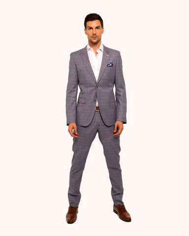 Giovanni Testi 2 Button Slim Fit  Suit with Peak Lapel GT2P-5979 Lavender
