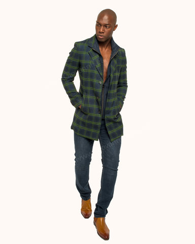 Giovanni Testi Plaid Duster Over Coat GTGOTI-5161 GBG