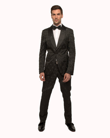 Giovanni Testi 1 Button Slim Fit Suit with Shawl Lapel GT1S-1191 Black