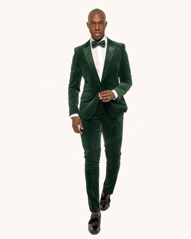 Giovanni Testi 1 Button Stretch Velvet Slim Fit Suit with Peak Lapel GT1P-1925 Green