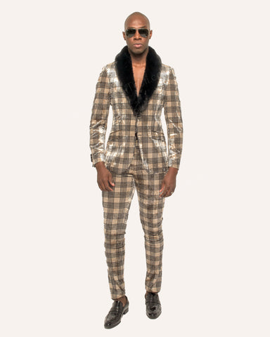 Giovanni Testi 2 Button Stretch Plaid Slim Fit Suit with Peak Lapel GT2P-7430 Plaid