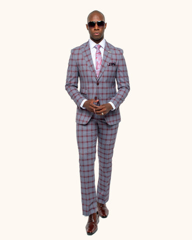 Giovanni Testi 2 Button Peak Lapel Slim Fit Grey with Burgundy Windowpane Suit GT2P-3687