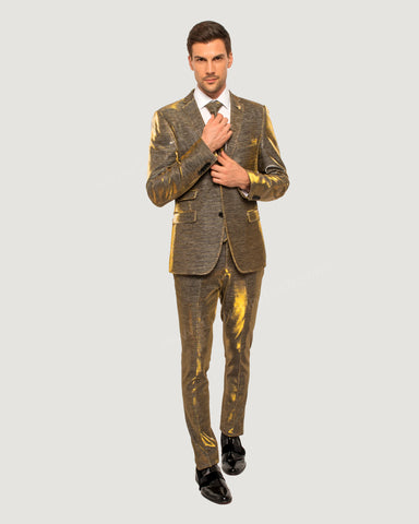 Giovanni Testi 2 Button Slim Fit  Suit with Matching Tie GTTRAV-1298 Gold