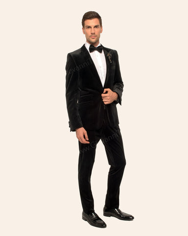 Giovanni Testi 1 Button Stretch Velvet Slim Fit Suit with Peak Lapel GT1P-1925 Black