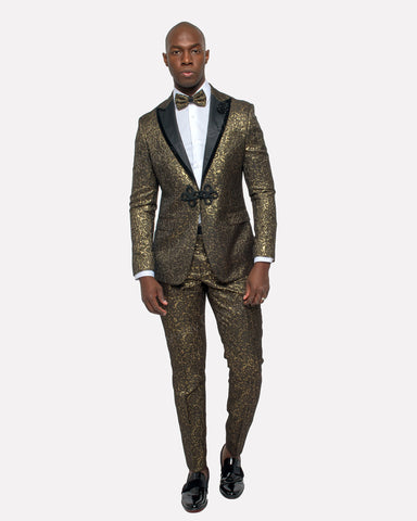 Giovanni Testi 2 Button Slim Fit Suit with Peak Lapel GTDGP-SHINE Gold
