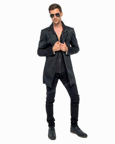 Giovanni Testi Black Duster Over Coat GTGOTI-12A01